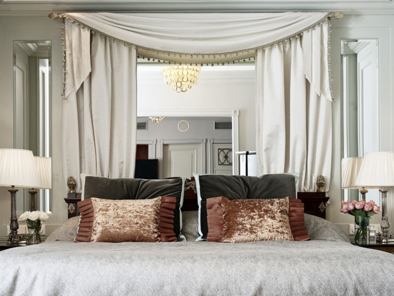 The Kämp Suites are decorated with romantic accents and elegant mahogany.